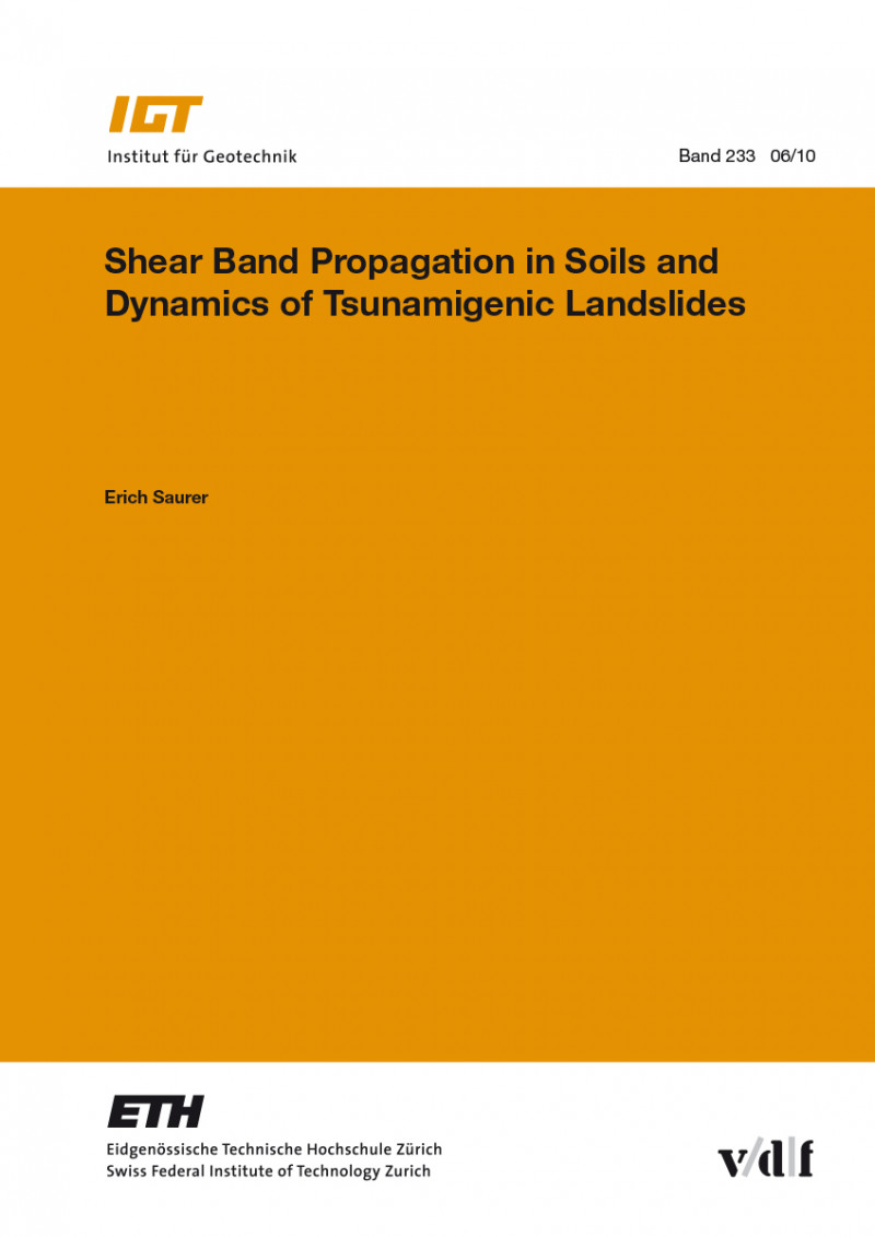 Shear Band Propagation in Soils and Dynamics of Tsunamigenic Landslides